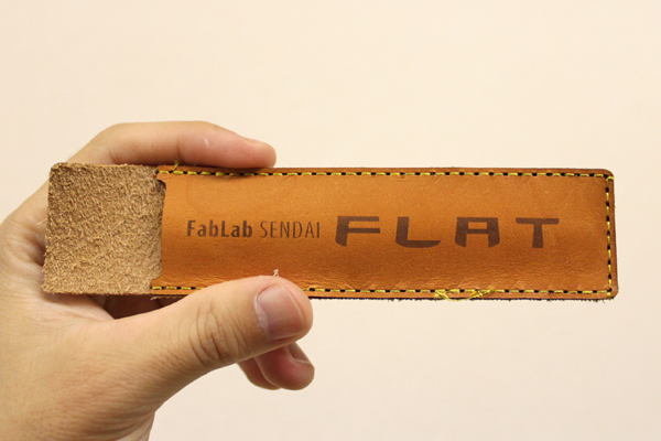 レーザーカッターで焼印をつけた革細工